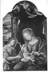 Maria met kind en engel. Het kind speelt met Maria's sluier