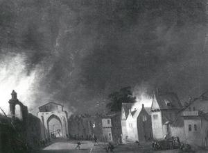 Brand in een Hollandse stad in de nacht