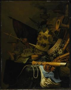 Vanitasstilleven met gelauwerde schedel, kroon en muziekinstrumenten