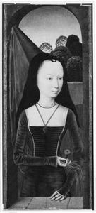 Portret van een jonge vrouw met een anjer (allegorie van de waarachtige liefde)