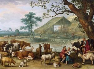 Landschap met vee en vrijend herderspaar