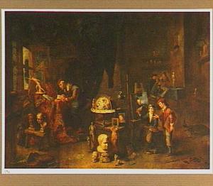 Schilder en zijn leerlingen in een atelier