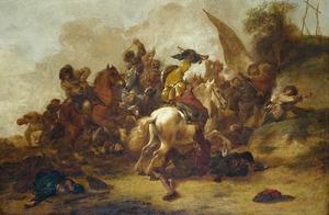 Ruitergevecht bij een heuvel met een galg