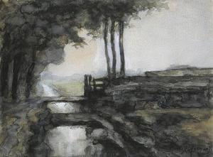 Polderlandschap met brug en geit