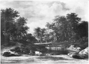 Boslandschap met houten brug over een rivier