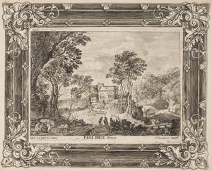 Landschap met in het midden een groep gebouwen en enkele figuren in de omgeving