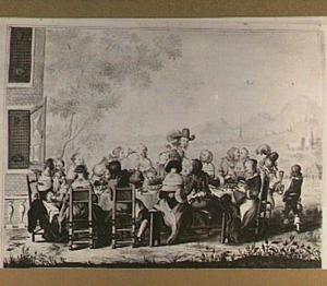 Vrolijk gezelschap aan een tafel bij een huis