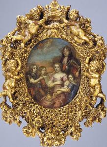 Groepsportret van Willem Hadriaan van Nassau (1623-1705), heer van Odijk, zijn echtgenote Elisabeth van der Nisse (1639-1698) en hun kinderen Lodewijk (1684-1742) en Mauricia Margaretha (..-..); de twee overleden kinderen Elisabeth (1668) en Elisabeth Wilhelmina (1671) zijn als cherubijnen afgebeeld