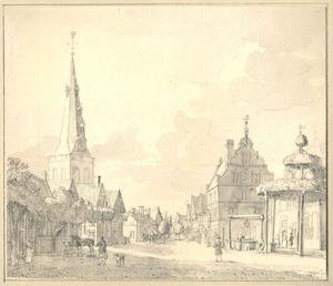Groenlo, gezicht in het dorp met de kerk en het raadhuis