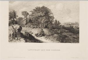 Heuvellandschap met fluitspelende schaapherder
