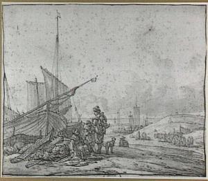 Strandgezicht met vissers en boten op het strand