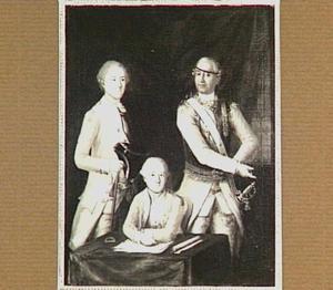 Portret van David Louis de Constant Rebecque (1722-1785) met twee officieren