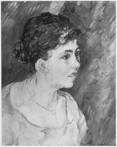 Portret van een vrouw in blauwe kledij, en trois quarts naar rechts