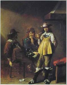 Interieur met rokende en drinkende mannen