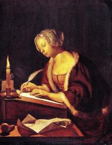 Vrouw schrijvend bij kaarslicht