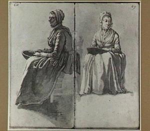 Twee studies van een zittende vrouw, groente schillend boven een kom