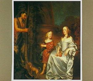Portret van een dame en een jongen met Pan