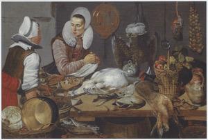 Keukeninterieur met een vrouw en keukenmeid