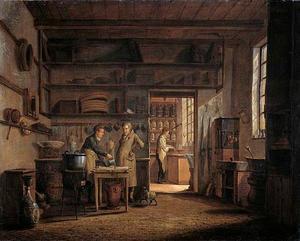 Interieur van het 'Stoockhuys' van apotheker A. d'Ailly