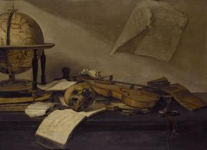 Vanitasstilleven met boeken, een globe, een schedel, een viool en een horloge