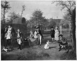 Familieportret van Eva Maria Burman (1723-1812) met haar tweede man Charles Rey de Carles (1731-1802) en haar kinderen en kleinkinderen Van Breugel in de tuin van de Rey's Hof te Tilburg, met geheel links zelfportret van de schilder