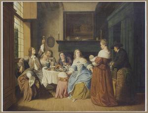 Elegant etend en drinkend gezelschap in een interieur: feest ter gelegenheid van een pasgeboren kind