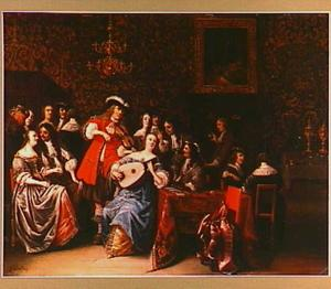Musicerend en converserend gezelschap in een rijk interieur