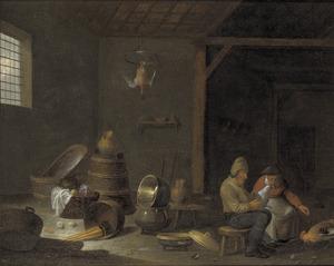 Interieur van een schuur met een boerenpaar, dat kippen voedert