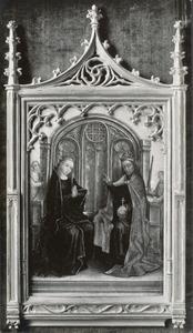 Maria en Christus op een troon
