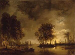 Dorp aan een rivier bij maanlicht