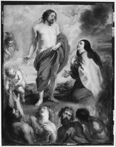 De Heilige Theresa van Avila als middelares bij Christus voor Bernardino de Mendoza