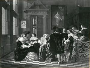Musicerend gezelschap in een renaissancezaal