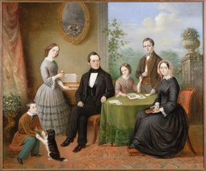 Portret van Tjepke Kroon (1813-1884) met zijn tweede vrouw Maria Heidenrijk (1817-1907) en de kinderen uit zijn eerste huwelijk