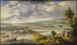 Panorama met (van links naar rechts) haven en dorp van Recife, het eiland António Vaz en het vasteland van Brazilië