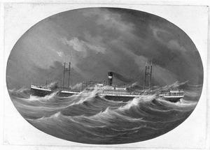 Het vracht/passagierschip 'Tjimanoek' van de JCJL