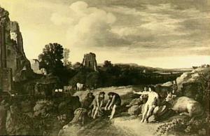 Arcadisch rivierlandschap met klassieke ruïnes