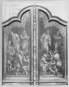 De HH. Stephanus en Marcus (buitenzijde links); De HH. Laurentius en Elisabeth van Hongarije (buitenzijde rechts)