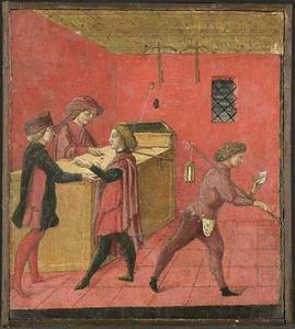 Het uitbetalen van de gemeentesalarissen aan de nachtwakers in de 'Camera del Comune'  te Siena