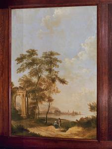 Arcadisch landschap met een man en vrouw bij een ruïne