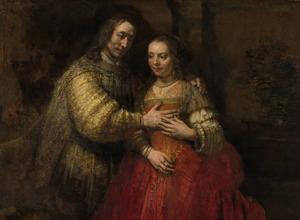 Portret van een echtpaar als Isaak en Rebecca, bekend als 'Het Joodse Bruidje'