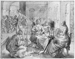 Lucretia en haar dienaressen tijdens het spinnen (Ovidius, Fasti, 2, 721-852)