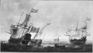 Twee Hollandse fregatten en andere vaartuigen op het IJ voor Amsterdam