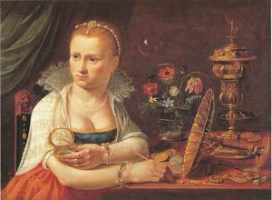 Mogelijk zelfportret van Clara Peeters, aan een tafel met kostbaarheden