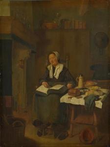Slapende vrouw met een boek op haar schoot, in een interieur