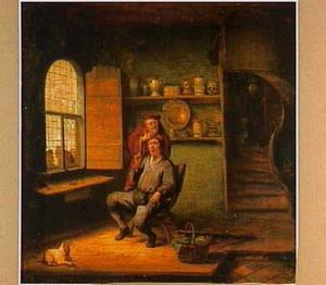 Keisnijding in een interieur, met door het raam kijkende boeren figuren