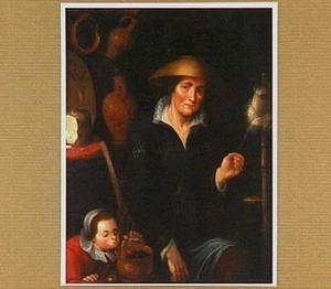 Interieur met een vrouw aan het spinrokken en een kind met een vuurtest