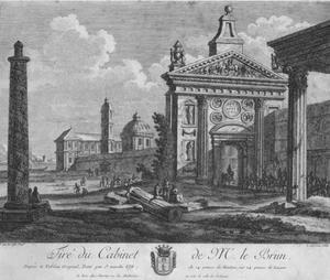Romeinse ruïnes en klassieke gebouwen met enkele figuren en een leger