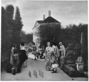 Elegant gezelschap bij kegelspel in een tuin