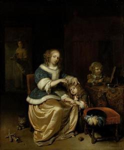 Interieur met een jonge vrouw die het haar van een jongetje kamt