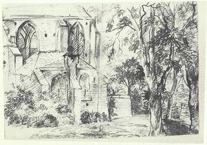 Koor van een Gotische kerk in Amsterdam (?) tussen bomen